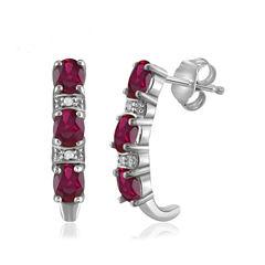 Diamond Accent & Lead-glass Filled Ruby Sterling Silver Drop Earrings