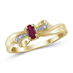 Womens Lab Created Red Ruby and Diamond Accent Gold Over Silver Ring