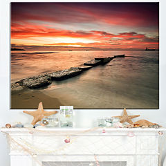 Design Art Wonderful Sunrise On Black Ocean Beach Photo Canvas Print