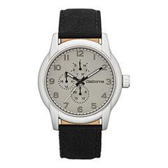 Claiborne Mens Round Dial Multifunction Black Canvas Strap Watch