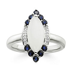 Genuine Moonstone and Lab-Created Blue and White Sapphire Sterling Silver Ring