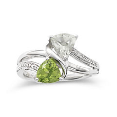 Trillion Peridot & Green Amethyst Ring