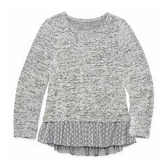 Arizona Long Sleeve Sweater Knit Top w/ Mesh Detail - Preschool Girls