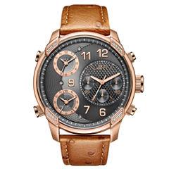 JBW 0.19 Ctw Mens Brown Strap Watch-J6353b