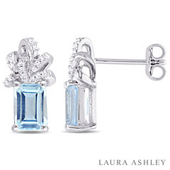 Laura Ashley Blue Blue Topaz Sterling Silver Ear Pins