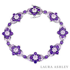 Laura Ashley Womens Purple Amethyst Sterling Silver Tennis Bracelet