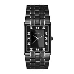Bulova® Mens Black Watch w/ Diamond Accents