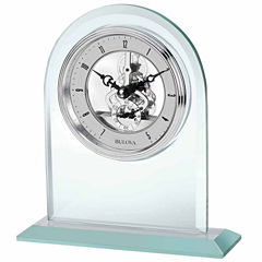 Bulova Clarity Desk Clock Silver-Tone Dial Polished Glass B5009