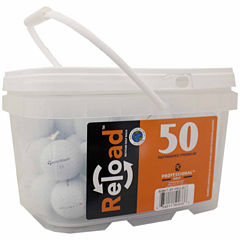 Reload 50 pack Taylormade Project (a) Refinished Golf Balls in a reusable plastic bucket with handle