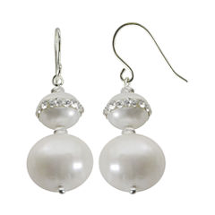 Cultured Freshwater Pearl & Crystal Orbit Double-Drop Sterling Silver Earrings