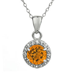Faceted Genuine Citrine & White Topaz Sterling Silver Pendant Necklace
