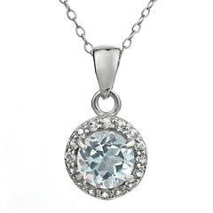 Faceted Genuine White Topaz Sterling Silver Pendant Necklace