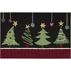 Nourison® Christmas Tree Hand-Hooked Rectangular Rug