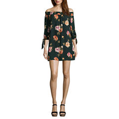 As U Wish Elbow Sleeve Floral A-Line Dress-Juniors