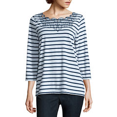 St. John's Bay 3/4 Sleeve Scallop Neck Stripe T-Shirt-Womens