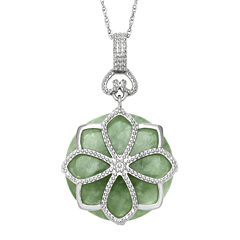 Green Jade Sterling Silver Pendant Necklace