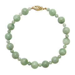 Green Jade 14K Yellow Gold Bracelet