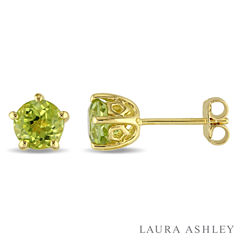 Laura Ashley Round Green Peridot 18K Gold Over Silver Stud Earrings