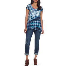 Skyes The Limit Monte Carlo Plaid Mesh Tiered Top- Plus
