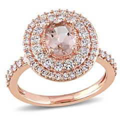 Womens Genuine Pink Morganite 14K Gold Engagement Ring