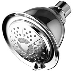 PowerSpa® All-Chrome LED Overhead Shower Head with Air Jet LED Turbo Pressure-Boost Nozzle Technology