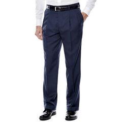 Stafford® Travel Sharkskin Pleated Dress Pants - Classic