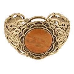Art Smith by BARSE Dyed Orange Sponge Coral Brass Cuff Bracelet