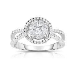 Womens 3/4 CT. T.W. Genuine White Diamond 14K Gold Cocktail Ring