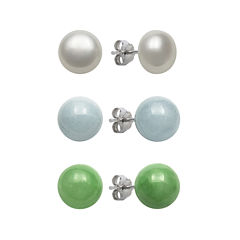 Sterling Silver Cultured Freshwater Pearl, Jade & Genuine Aquamarine Earrings