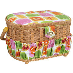 Handmade Sewing Basket, 42-pc. Sewing Kit & Plastic Tray