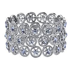 1928® Silver-Tone and Blue Wide Stretch Bracelet
