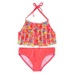St. Tropez Girls Solid Brights Flounce Bikini Set - Big Kid