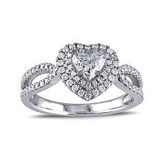 1 CT. T.W. Diamond 14K White Gold Openwork Heart Ring