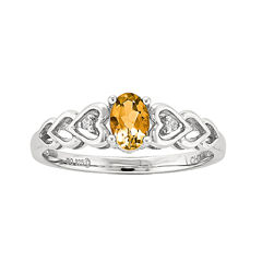 Womens Diamond Accent Genuine Yellow Citrine Sterling Silver Delicate Ring