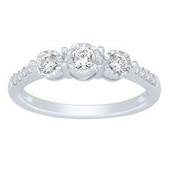 Love Lives Forever Womens 1/2 CT. T.W. Genuine Round White Diamond 14K Gold Engagement Ring