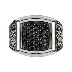 Mens Genuine Black Sapphire Basketweave Sterling Silver Ring