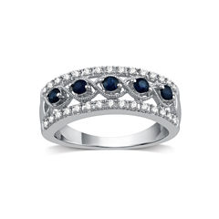 I Said Yes Womens 1/4 CT. T.W. Blue Sapphire Platinaire Band