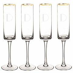 Cathy's Concepts Personalized Gold Rim 4-pc. Champagne Flutes