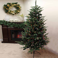 9' Pre-Lit Grantwood Pine Artificial Christmas Tree with Multi-Color Lights