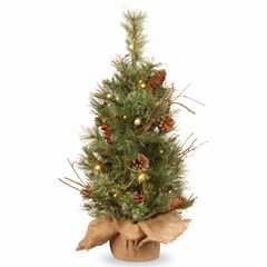National Tree Co. 2 Foot Glistening Pine Burlap Pre-Lit Christmas Tree