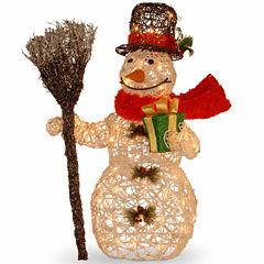 National Tree Co. White Rattan Snowman Holiday Yard Art