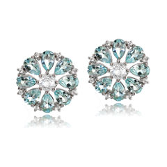 Fine Jewelery Pear Blue Topaz Sterling Silver Stud Earrings