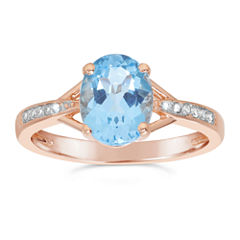 Womens Diamond Accent Genuine Blue Topaz Gold Over Silver Cocktail Ring