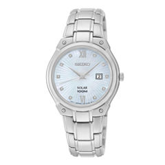 Seiko® Womens Diamond-Accent Stainless Steel Solar Bracelet Watch SUT213