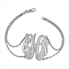 Sterling Silver Personalized Etched Monogram Bracelet