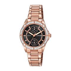 Citizen® Eco-Drive® Womens Crystal-Accent Bracelet Watch FD3003-58E