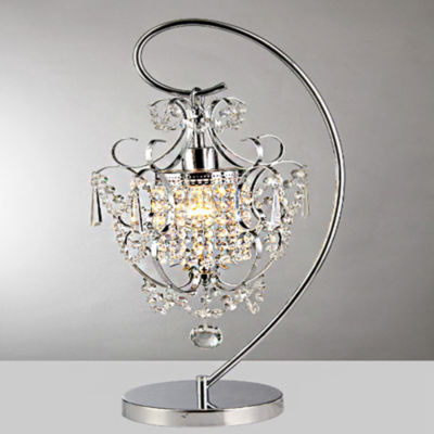 Warehouse Of Tiffany Unnie 1 Light Chrome 24 InchCrystal Table Lamp