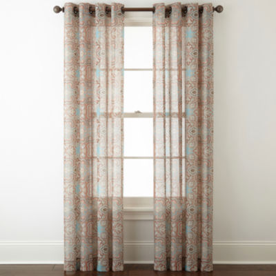 jcpenney home batiste paisley grommettop sheer curtain panel