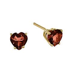 Genuine Red Garnet 14K Yellow Gold Heart-Shaped Earrings
