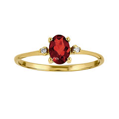 Genuine Red Garnet Diamond-Accent 14K Yellow Gold Ring